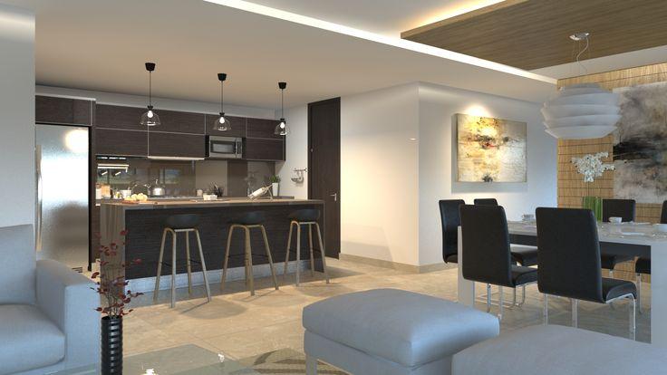Render Cocina Interior Departamento - EVA3D