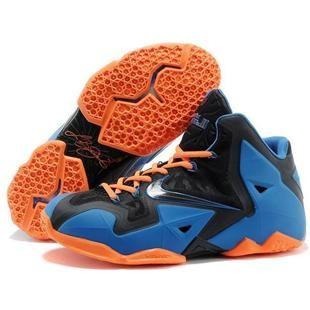 2013 Nike Lebron 11 Black Blue Orange mens Running Shoes for sale