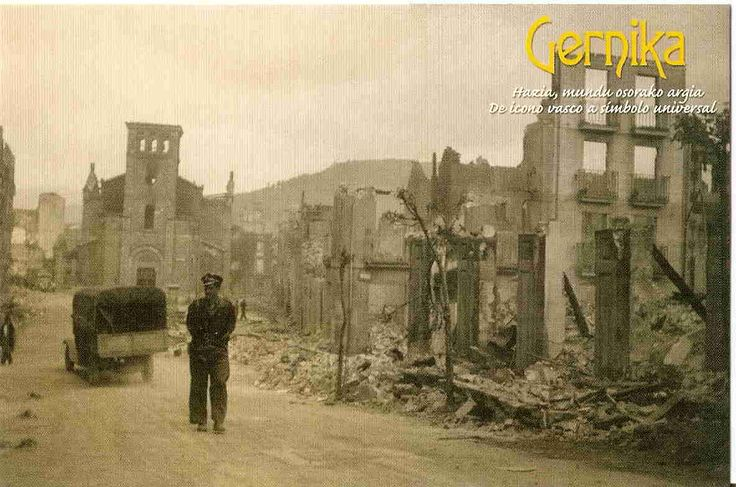 "Is the 75th anniversary of the bombing of Gernica (April 26, 1937) was an aerial attack on the Basque town of Guernica, Spain, causing widespread destruction and civilian deaths, during the Spanish Civil War. The raid by planes of the German Luftwaffe ""Condor Legion"" and the Italian Fascist Aviazione Legionaria was called Operation Rügen. Picasso's Guernica reminds us every day"