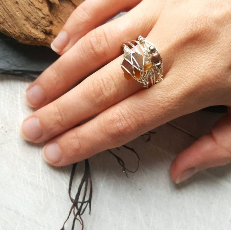 This boho style set of rings is romantic and earthy. I know that so many people, like me, feel the call of the sea and the salty breeze in their soul. My aim is to bring a little slice of that romantic ocean escape to my customers ♡ ---------------------------------------------------------------