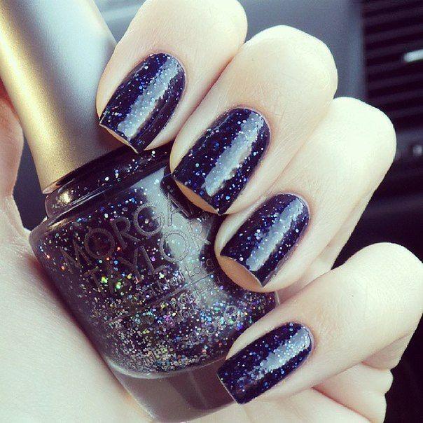 Dark nails, Glitter nails, Glitter nails ideas, Long nails, Night nails, Party nails, Shellac nails, Shellac nails 2016