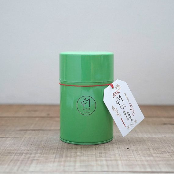 Green Wolf Tea Canister / Tea Tin / Caddy  Rhymic Oolong Tea