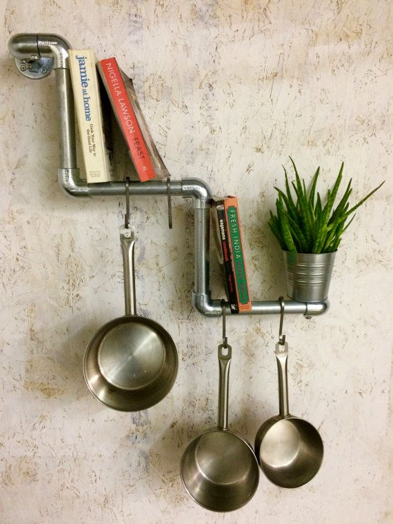 Stepped Kitchen Hanging Rail, Bespoke Bookcase, Pipework Shelving,  Industrial Shelving, Kitchen Storage, Urban Shelving, Industrial Chic