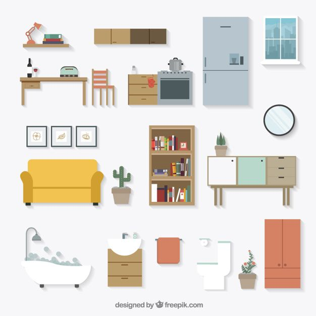 Home furniture icons Free Vector