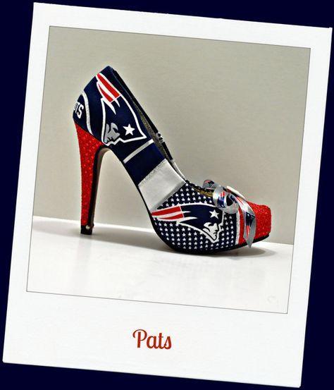 New England Patriots inspired heel. Red sequin toe with New England Patriots logo on each bottom half and top half of the shoe. Red sequin heel.