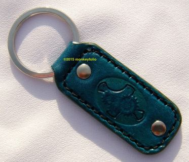 Leather Key Ring / Key Fob - Steampunk - Turquoise
