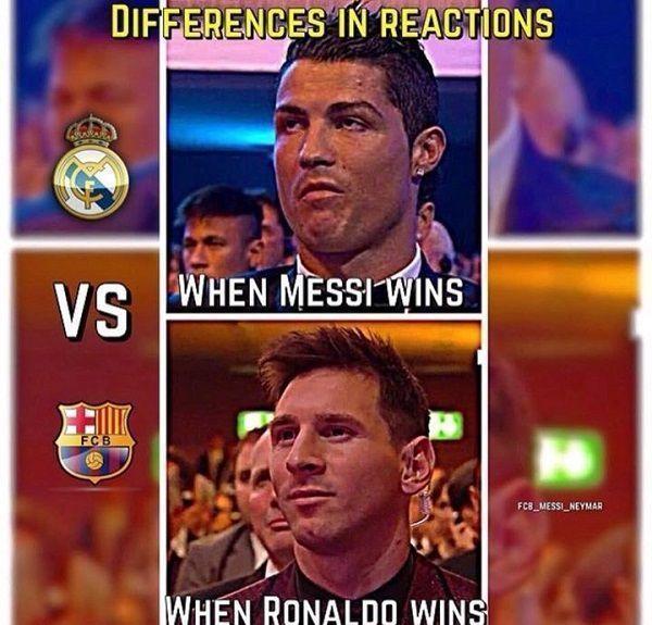 Lionel Messi wygląda na zadowolonego kiedy Portugalczyk wygrał złotą piłkę • Cristiano Ronaldo zniesmaczony • Zobacz inne reakcje >>