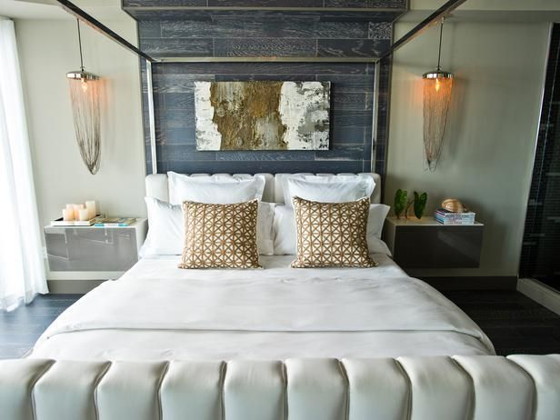 HGTV Urban Oasis 2012: Master Bedroom French hotel-style linens dress the bed,