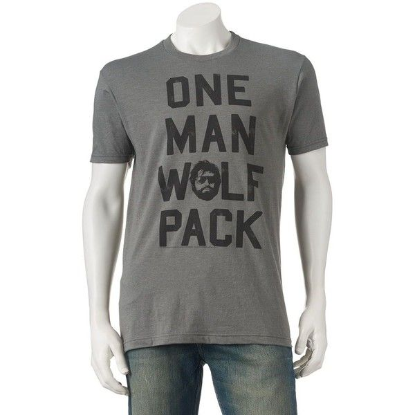 "Men's The Hangover Alan ""One Man Wolf Pack"" Tee ($15) ❤ liked on Polyvore featuring men's fashion, men's clothing, men's shirts, men's t-shirts, silver, j crew mens shirts, mens short sleeve t shirts, mens print shirts, mens t shirts and mens crew neck t shirts"
