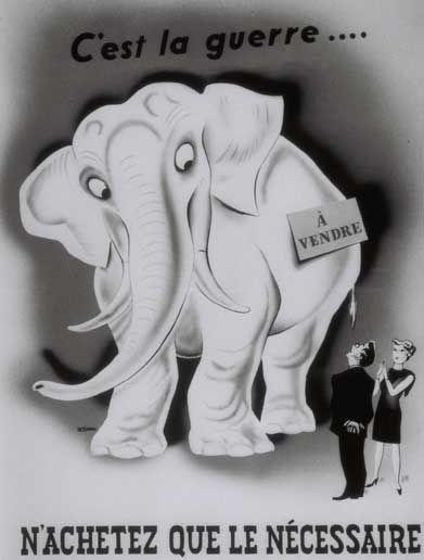 Affiche publicitaire qui a pour but de contrôler l'inflation .Année: 1939. © Historica Auteur: Inconnu. Référence: Site Internet Historica : http://www.histori.ca/.