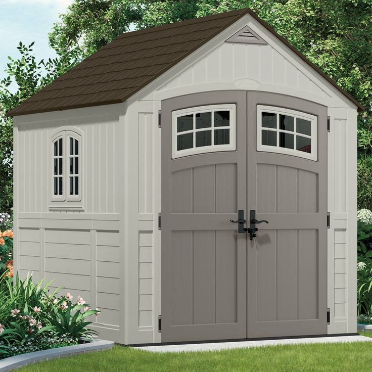 Features:  -Color: Gray, Ivory.  -Made of plastic.  -Weather and water resistant.  -2 double doors.  -Made in the USA.  -Walls are not interchangeable.  Color: -Gray; Ivory.  Material: -Plastic.  Hard