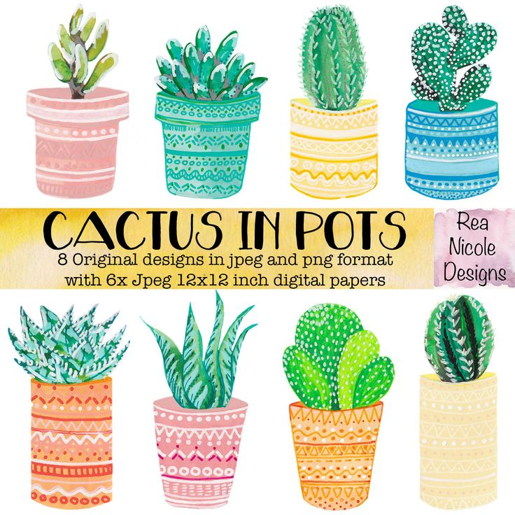 Cacti in Pots - Watercolour clipart, perfect for scrapbooks,digital projects,planners,craft projects, printable art, stickers by ReaNicoleDesigns on Etsy