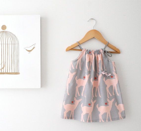 Baby Girl Summer Dress-Deer Love-grey and pink cotton-toddler infant jumper-beach sundress-Handmade Children Clothing by Chasing Mini.