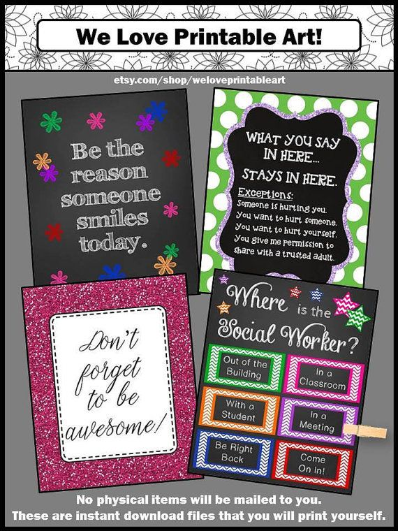 You will receive four printable art posters for your school social worker. These signs make great gifts for back to school, Christmas, Appreciation Week or the end of the year. They are an easy DIY gift idea for quick office decorations.