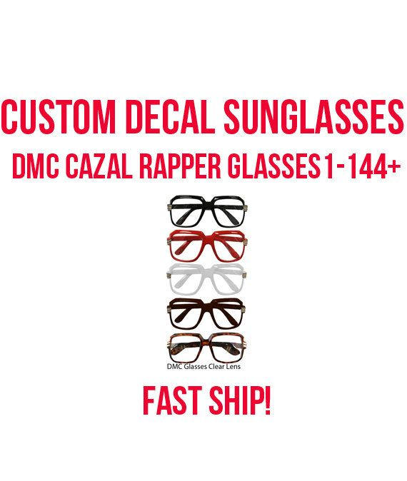 Rapper Costume, Costume Glasses- Custom Decal Sunglasses - Theme Parties, college party, party goods, 80's parties, theme parties, Fast Ship