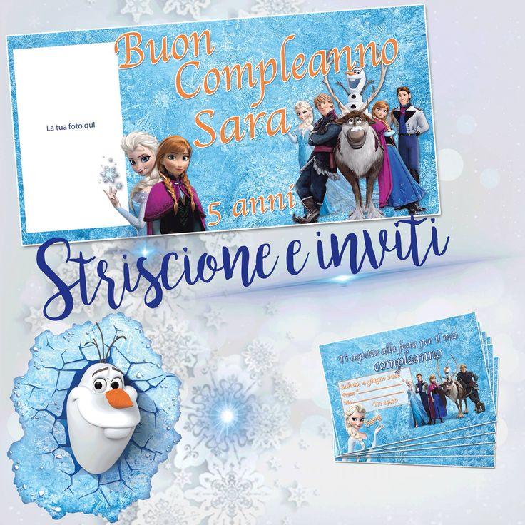 Striscione di Frozen  personalizzabile con la tua foto