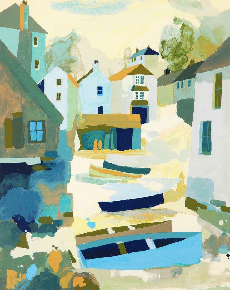 Cadgwith Boats Silkscreen Print by Richard Tuff