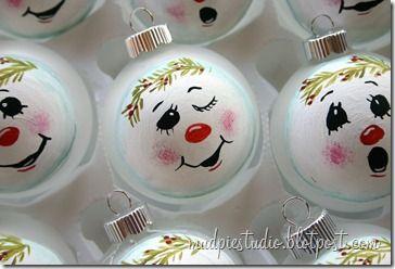 Cute hand painted snowman ornaments
