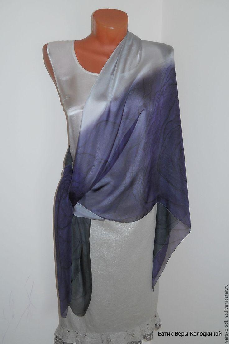 """Купить Платок большой """"Ночные розы"""" шелковый - большой платок, батик-платок, магазин платков, платок на голову"""