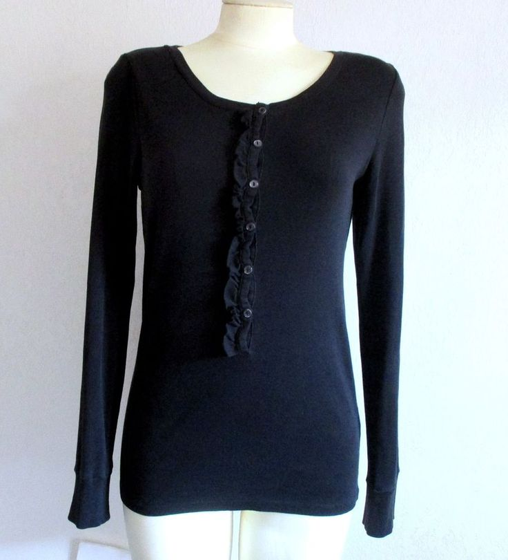 J Crew Perfect Fit Black Cotton Ruffle Front Long Sleeve Pullover Top Size M #JCREW #Pullover #Casual