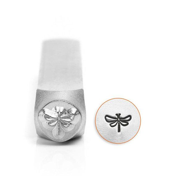 Dragonfly Metal Stamp 6mm design stamp by ImpressArt. This will ship 10/21    ImpressArt brand stamps are precision cut from hardened steel for