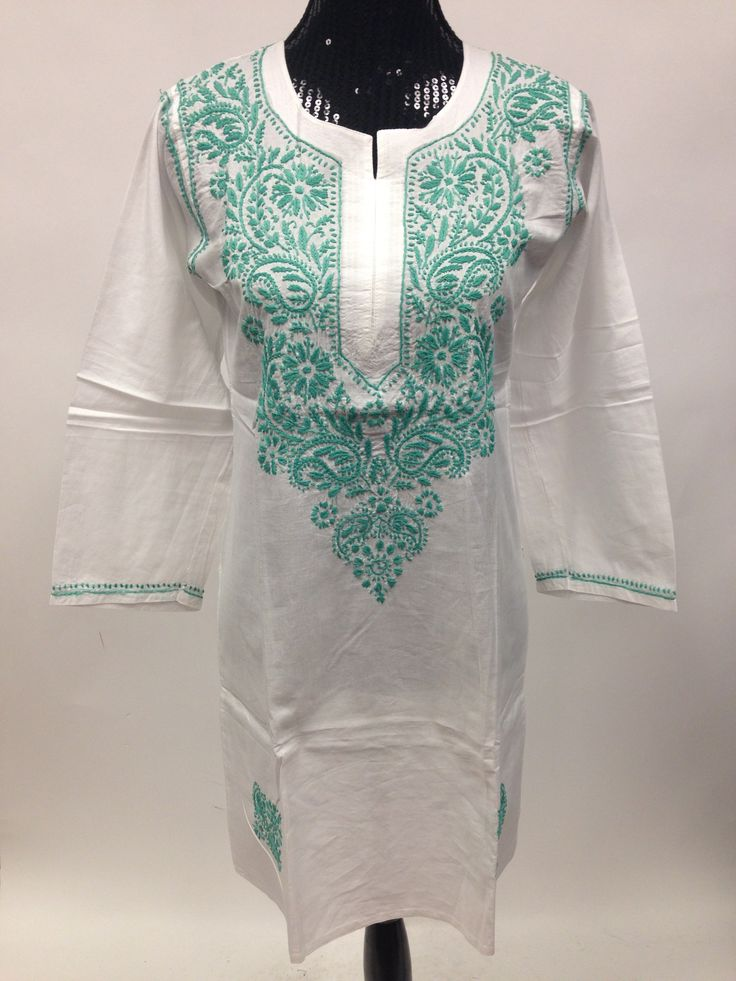 Lucknowi Chikankari Long Kurti - White & Green
