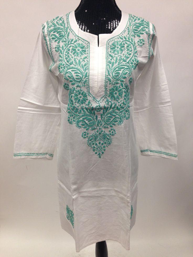 Lucknowi Chikankari Long Kurti - White & Green