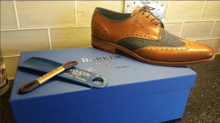 Barker Jackson in Cedar Calf/Blue Tweed  (photograph courtesy of Sarah Lyle)  http://www.robinsonsshoes.com/barker-jackson.html