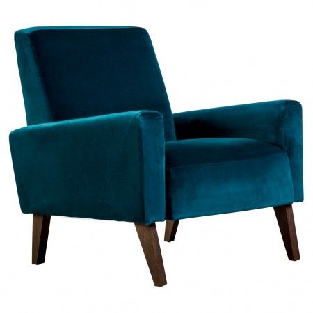 Fauteuil Marlon en velours bleu canard