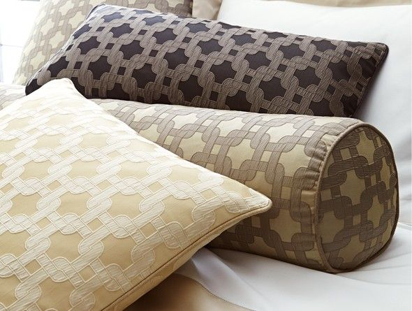 Add bold accents to your master bed with the parker decorative pillows by peacock alley boasting beautiful color and old world italian design