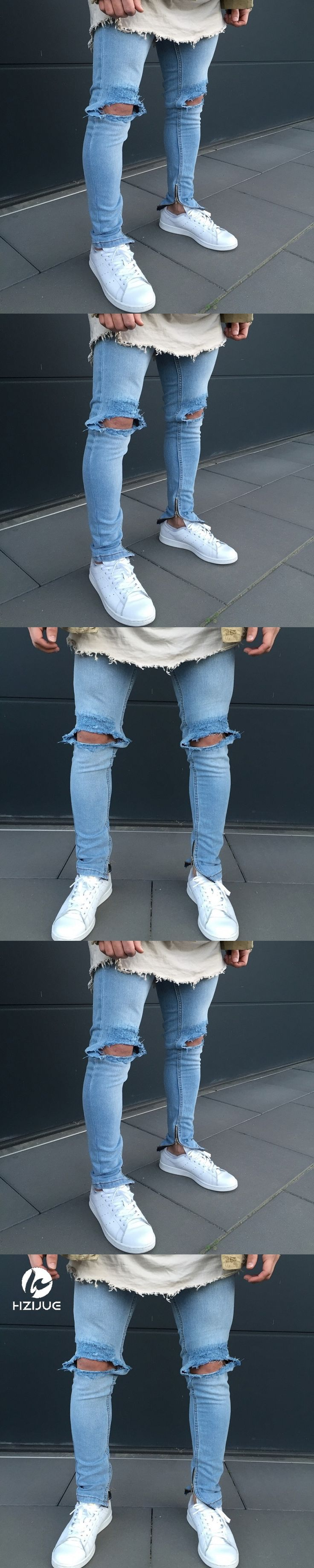 Fashion Men`s Skinny Jeans Washed Vintage Faded Ripped Distressed Slim Fit Stretchy Jegging Denim Pants Jeans With Big Hole
