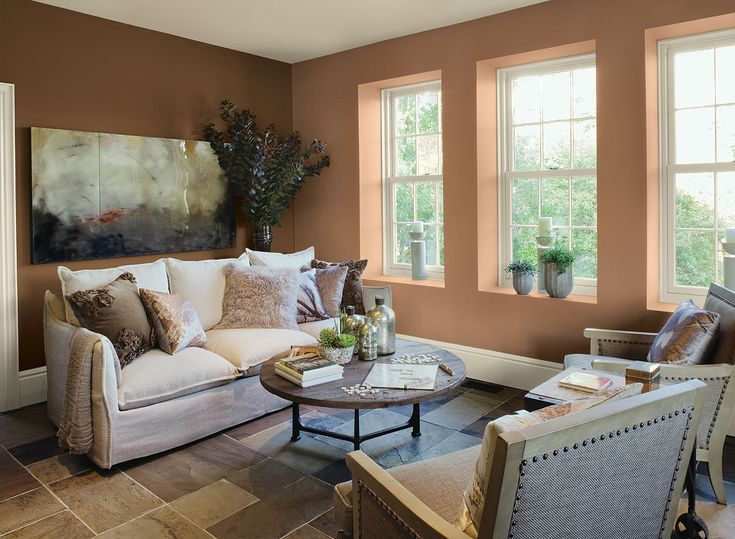 Fresh, Inviting Living Room! Wall Color: Potters Clay   Accent Wall: Saddle