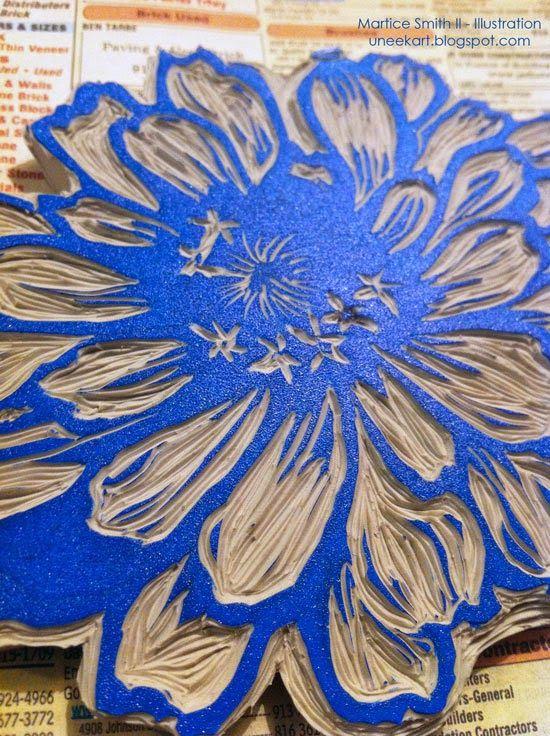 Martice's large flower stamp, tutorial; ink detail DIY stamp carving