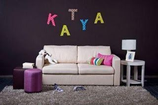 Fabric and Cardboard Wall Letters DIY http://diy-projectss.blogspot.it/2013/07/fabric-and-cardboard-wall-letters-diy.html
