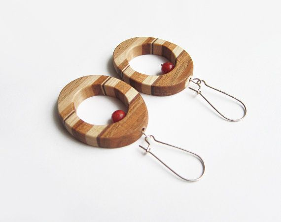 Wooden earrings natural earrings red coral by forEVAhairforks