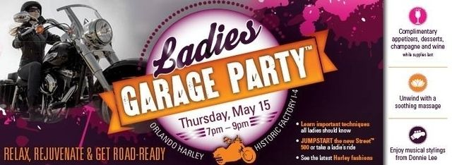Don't forget tomorrow is the Ladies Garage Party! Indulge in complimentary appetizers, desserts, champagne and wine while supplies last and unwind with a soothing massage. Get your girlfriends together and RSVP today at rsvp@orlandoharley.com! #orlandoharley #harleygirls #harleydavidson — at Orlando Harley-Davidson®.