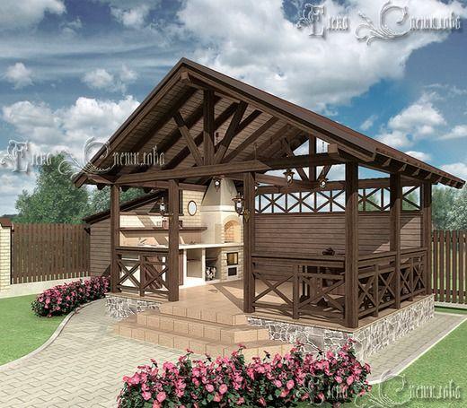 Уютная Беседка с барбекю . Хозяйственные постройки