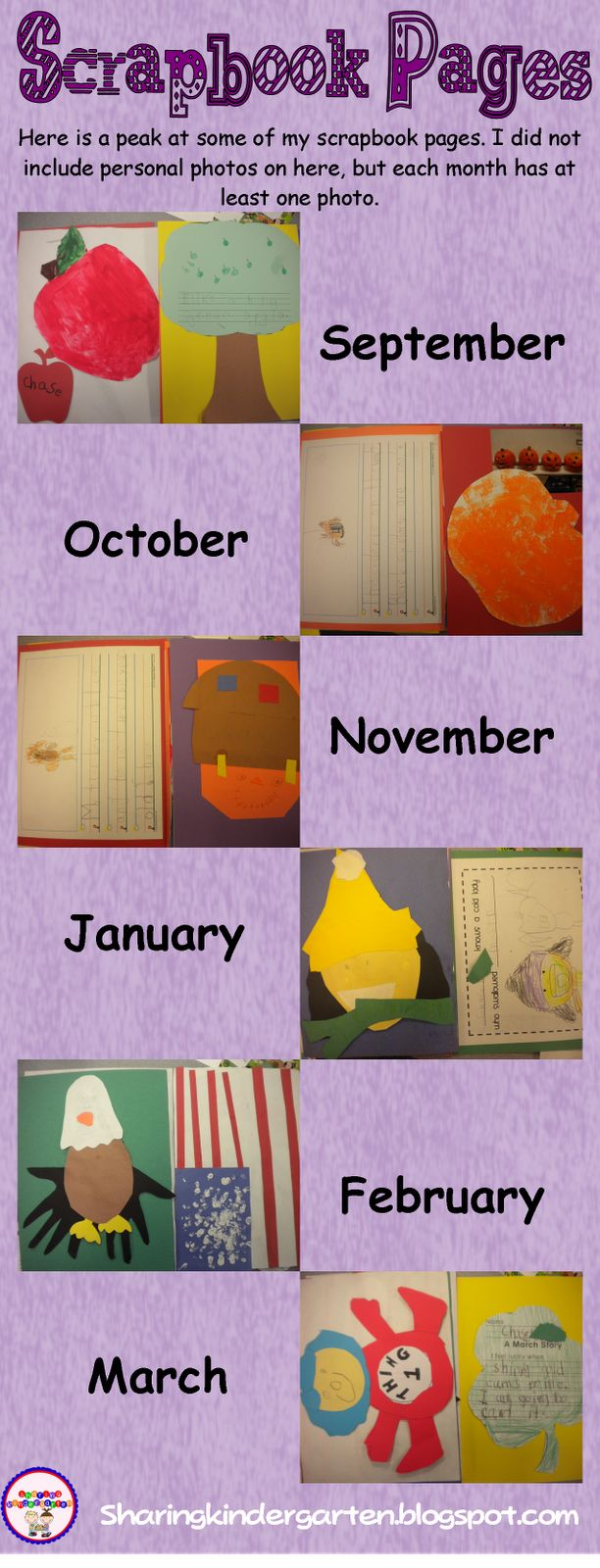 Scrapbook ideas for teachers - Scrapbook For Each Student One Page Each Month With A Craft Writing Picture