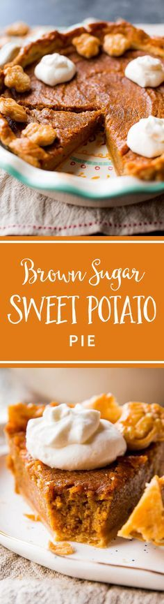 The most flavorful brown sugar and cinnamon spiced sweet potato pie! Easy homemade pie recipe on sallysbakingaddiction.com