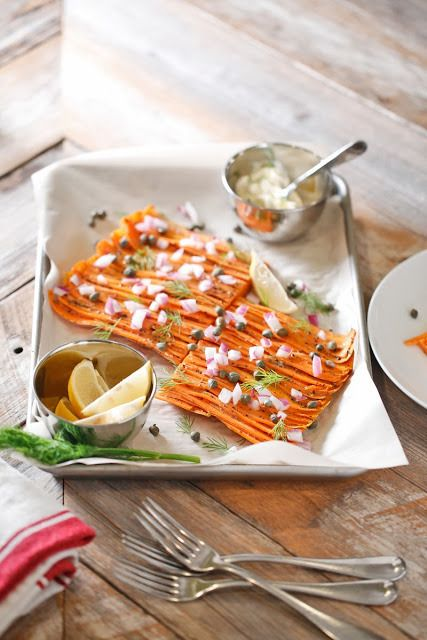 "Carrot ""Lox"" With Red Onion, Capers, Dill, and Créme Fraîche by The..."
