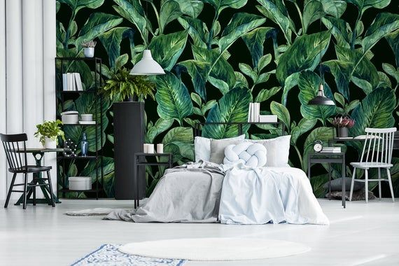 Beautiful Dark Green Banana Leaves On The Black Bacground Wallpaper Leafs Art Peel And Stick Wall Decor Self Adhesive Wall Mural Reusable In 2021 Mason Jar Wall Sconce Wallpaper Walls Decor Peel And Stick