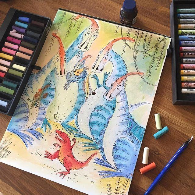 Final drawing for our creative marathon 🌐 а вот и конечный результат - динозаврики для #денькрокодила #иллюстрация #детскаяиллюстрация #рисуйкаждыйдень #рисунок #arts_help #art_we_inspire #topcreator #illustration #childrenillustration #drawingoftheday