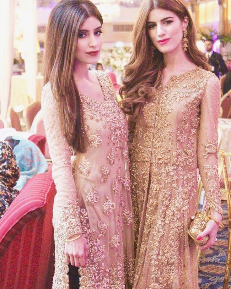 Sisters Nimrah and Aqsa in stunning all gold Mina Hasan ensembles #nimrah#aqsa#minahasan#pakistanvogue#gold#fashion#lfw by pakistanvogue