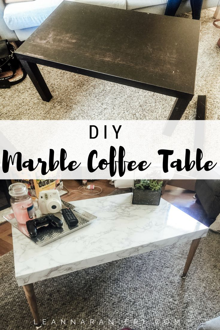 DIY Marble Coffee Table - so cheap and easy! I really wanted a sturdy, functional, and cute coffee table.