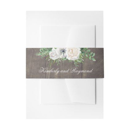 Wood and White Flowers Rustic Invitation Belly Band - #customize create your own personalize diy