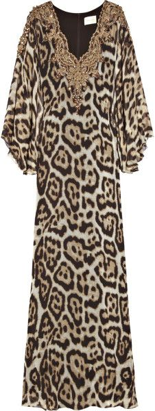 Marchesa Animal Embellished Animalprint Silkblend Kaftan
