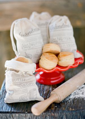 biscuits with recipe bags - perfect for favors