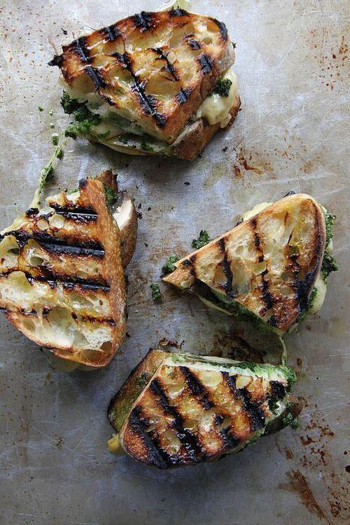 Portobello, Gouda and Kale Pesto Grilled Cheese