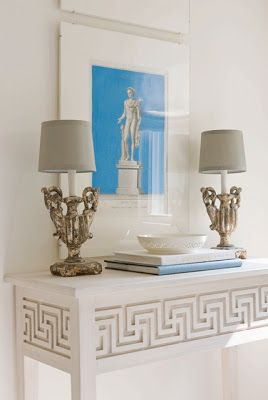 Greek Key Home Decor For Hallway Stairwell Wall Gray On White