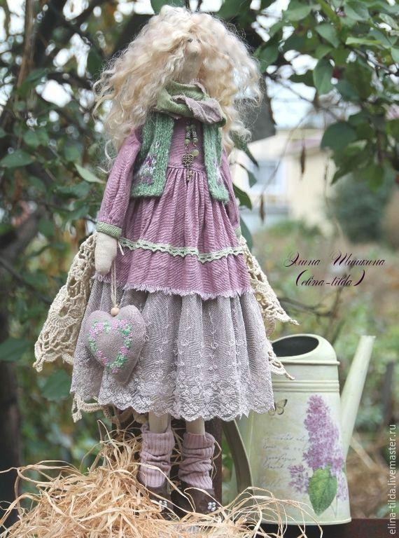 Купить Виолетта, барышня в лиловом. - брусничный, лиловый, сиреневый, винтаж, прованс, кукла Тильда, тильда